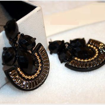 Black statement earrings for women delicate fashion jewelry fine quality Pendientes