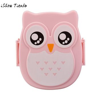 Owl Dinnerware Sets lunch Fruit Food Container Storage Box Portable Bento Box Picnic Children Gifts 4 Colors 1050ml 16*13*6cm