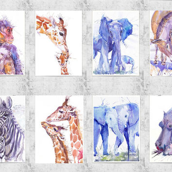 ACEO  Art Prints, african animals, watercolor, ATC, Artist Trading Cards, Giclee, Set of 8 Signed, collectible card, elephant, giraffe