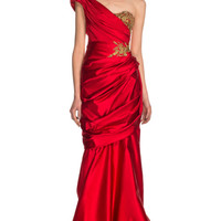 Duchess Satin One-Shoulder Gown by Marchesa for Preorder on Moda Operandi