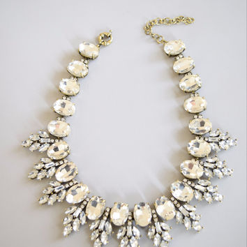 Vintage Inspired Clear Crystal Statement Necklace