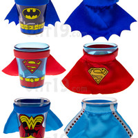 Batman, Superman, and Wonder Woman Caped Shot Glasses