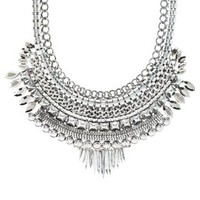 Silver Stud & Chain Metal Bib Necklace by Charlotte Russe