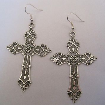 1 pairs Tibetan Silver *LARGE SILVER CROSS* Gothic Earrings Dita Madonna HALLOWEEN FANCY DRESS 70mm