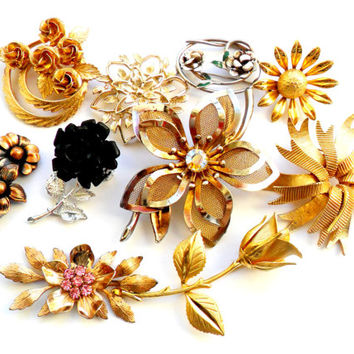 Flower Brooch Lot Vintage Instant Collection Bouquet Supplies Signed Silver Gold Black Rhinestone Coro Sarah Coventry Germany Capri