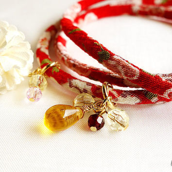 Kimono Bracelet, Sakura red Japanese Necklace, Japanese chirimen , Lovely Sakura flower on red - HANA MORI - Narrower width 【S size】