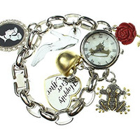 Disney Women's Happily Ever After Princesses Charm Bracelet Watch (Silver-Tone)