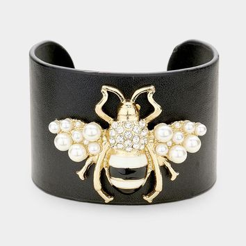 Bee Queen Leather Cuff