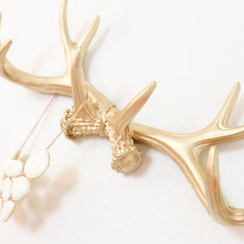 GOLD or CHOOSE Faux Deer Antler Rack // Wall Hook // Jewelry Holder // Wall Antlers // Cabin Decor // Stag // Faux Taxidermy // Mug Holder