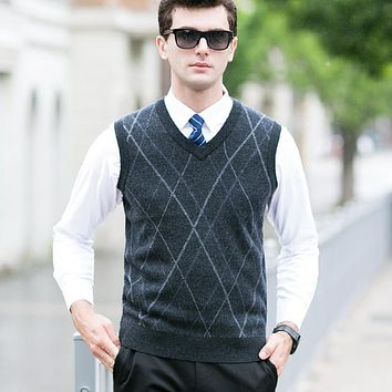 Wool Vest Male Business Simple Color Autumn And Winter V-Neck Sweater Sleeveless Knitted Vest Geometric Lines Pullover Vest