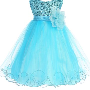 (Sale) Baby Girls 12-18 Months Aqua Sequin Party Dress w. Lettuce Hem