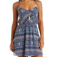 Printed Chiffon Surplice Halter Dress by Charlotte Russe - Navy Combo