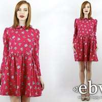 Vintage 80s Laura Ashley Floral Puff Sleeve Dress S M Floral Day Dress Laura Ashley Dress Floral Dress Party Dress Pink Dress