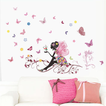 Butterfly Flower Fairy Wall Stickers for Kids Room Bedroom Wall Art Decoration Poster Children Gift Diy Removable Decal Muralart