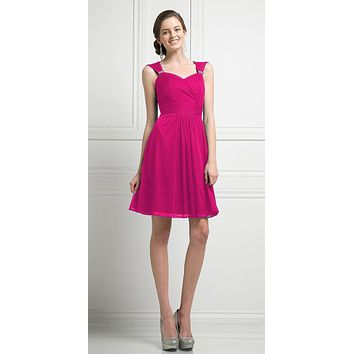 Cinderella Divine 3832 Fuchsia Chiffon Thick Strap Sweetheart Neckline Short Cocktail Dress