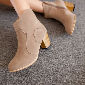 Summer Trendy Stylish With Heel Round-toe Ankle Boots [9432941194]