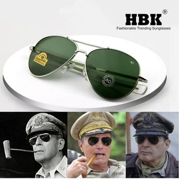HBK Aviation 90s AO General Pilot American Optical 12K Gold Tint Frame Oculos De Sol Army MILITARY MacArthur with BOX K40024
