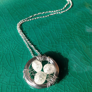 Family Nest Pendant with three White Glass Beads in a Aluminum Wire Nest, Handmade