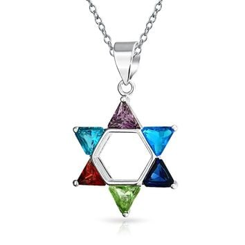Star OF David Magen Jewish Pendant CZ Necklace 925 Sterling Silver