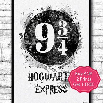 Hogwarts Express 2 Platform 9 3/4 from Harry Potter Watercolor Print Platform 9 3/4 Poster Nursery Gift Home Decor Baby Shower Wall Hanging