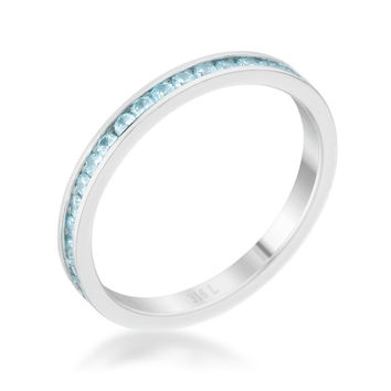 Teresa Aqua Silver Eternity Stackable Ring | 1ct | Cubic Zirconia | Stainless Steel