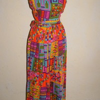 Vintage 1960s Styled By Dorian For Bonwit Tellers Jumpsuit Psychedelic Geometric Bold Colors Palazzo Style Pants Size 8