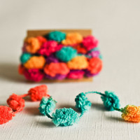 Pom Pom Garland - Confetti Colors (6 Yards) Pink Orange Yellow Turquoise Purple Fun Embellishment Lush Ribbon Yarn Trim Party Decor