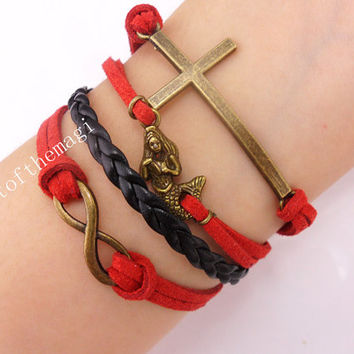 cross, mermaid,&infinity karma Charm Bracelet Antique bronze-- cotton Cords braid Leather bracelet-- friendship gift 528