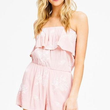 Pink Embroidered Floral Strapless Romper