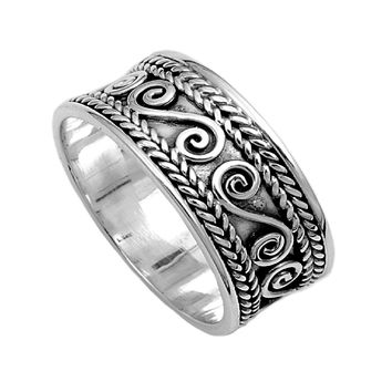 925 Sterling Silver Persian Patterns 9MM Ring