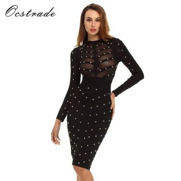 Hot New Fashion 2017 Sexy Olive Green Women See Through Bodycon Studded Bandage and Long Sleeve Mesh Club Dress