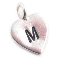 Heart Charm - Hand Stamped Initial - Sterling Silver