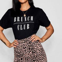 Brunch Club Slogan T-Shirt | Boohoo