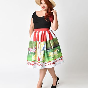 3d4ddd83753 Unique Vintage Plus Size 1950s Style Carousel Cotton High Waist Swing Skirt