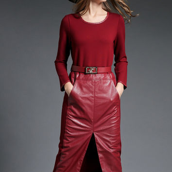 Wine Red Long Sleeve Faux Leather Midi Dress with Pocket