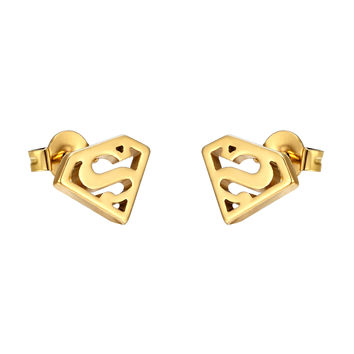 Superman Earrings Superhero Man Of Steel Gold Tone Stainless Steel Studs