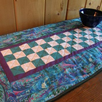Quilted Table Runner - Beach Cottage - Jewel Tones