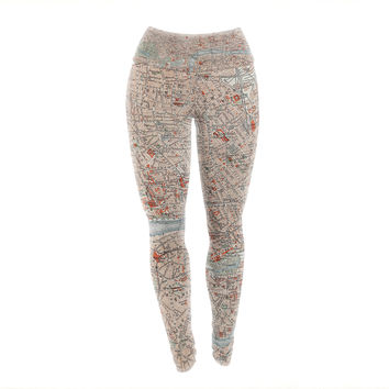London Town Map Yoga Exercise Leggings