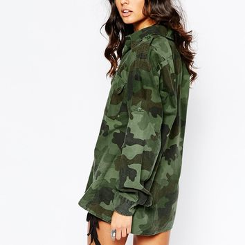 Milk It Oversized Shirt In Camo Print