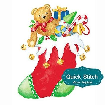 Quick Stitch Country Christmas Stocking with Teddy Bear Counted Cross Stitch or Counted Needlepoint Pattern
