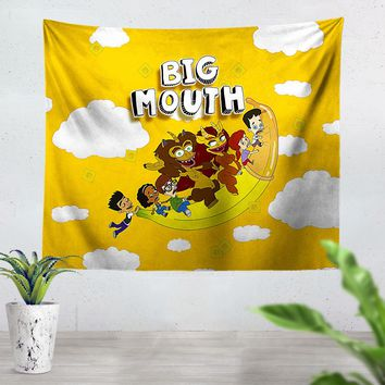Big Mouth Flying Banana Tapestry