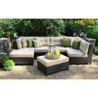 AE Outdoor Hillborough 4-Piece All-Weather Wicker Patio Sectional with Sunbrella Fabric SEC200520 at The Home Depot - Mobile