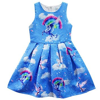 2017 Summer unicorn Dresses for Girls Princess Birthday Party Dress Children Trolls Costume Kids Clothes Vestido 3-10Y