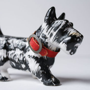 Scottish Terrier Dog, Porcelain Figurine, Vintage Scottie Miniature, Made In Japan