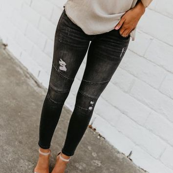 Grey Piped Frayed Skinnies