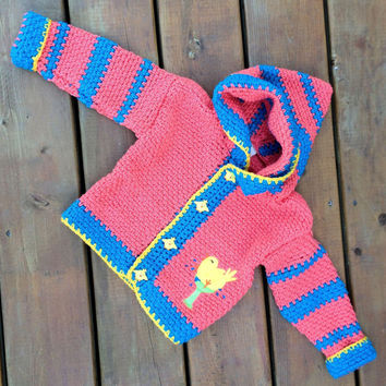 Children's Sweater Hoodie, Handmade Crochet bird cardigan sweater with hood, Baby Sweater size 2