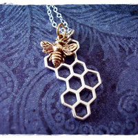 Tiny Honeybee & Honeycomb Charm Necklace in Bronze and Sterling Silver with a Delicate 18 Inch Sterling Silver Cable Chain