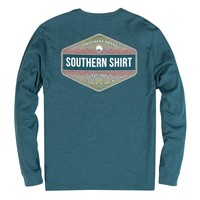 Rainbow Trout Badge Long Sleeve Tee in Legion Blue by The Southern Shirt Co.