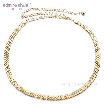 Hot Sale Sexy Chain Belt For Women Gold Plated Thin Waistband Metallic Gold Belt Body Chain Accessories Women's Belt BL-454