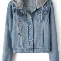 ROMWE | Hooded Pocketed Drawstring Denim Coat, The Latest Street Fashion